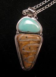 Navajo Mammoth Tooth & Turquoise Pendant Jewelry by Lucy Jake