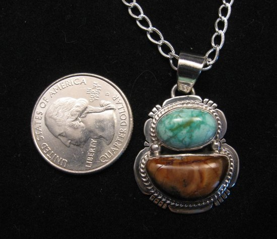 Image 1 of Navajo Mammoth Tooth & Turquoise Pendant Jewelry by Sampson Jake
