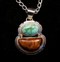 Navajo Mammoth Tooth & Turquoise Pendant Jewelry by Sampson Jake
