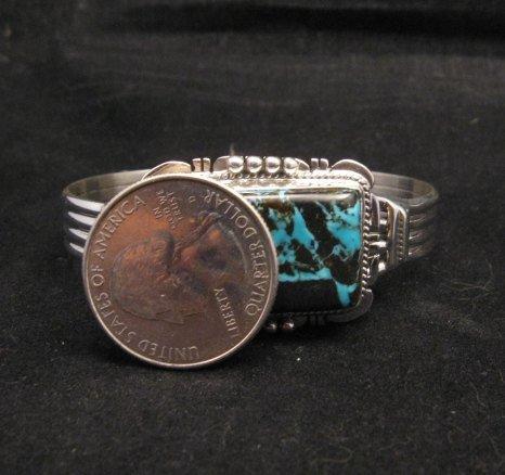 Image 4 of Navajo Native American Sunnyside Turquoise Bracelet, John Nelson