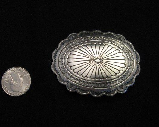 Image 1 of Navajo Stamped Sterling Silver Concho Belt Buckle, Joe Piaso Jr.