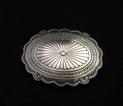 Navajo Stamped Sterling Silver Concho Belt Buckle, Joe Piaso Jr.