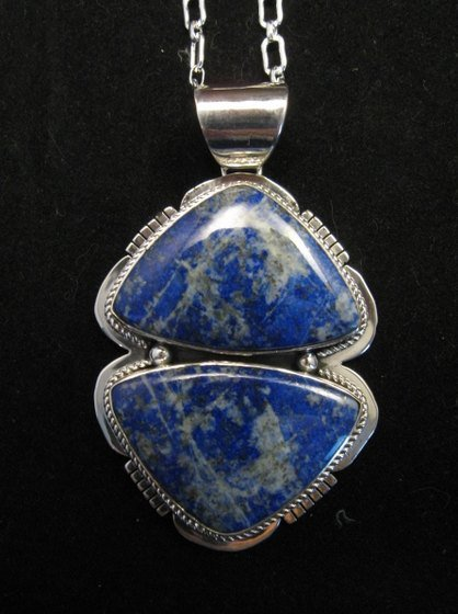 Image 2 of Native American Lapis Sterling Silver Necklace & Earrings Set - Navajo