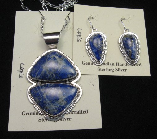 Image 0 of Native American Lapis Sterling Silver Necklace & Earrings Set - Navajo