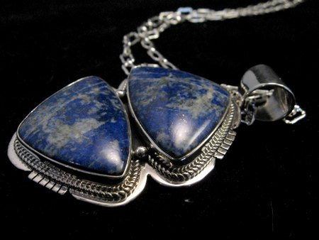Image 3 of Native American Lapis Sterling Silver Necklace & Earrings Set - Navajo