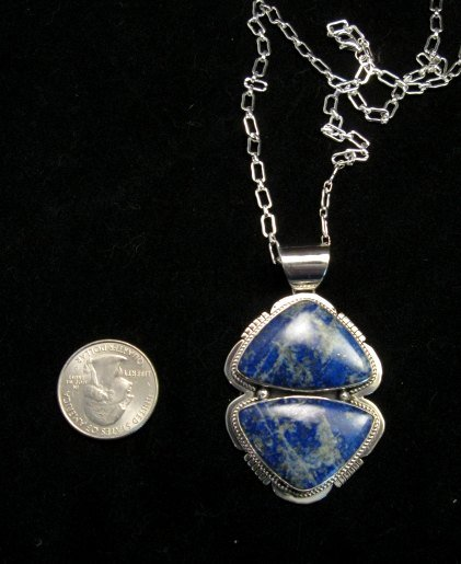 Image 4 of Native American Lapis Sterling Silver Necklace & Earrings Set - Navajo
