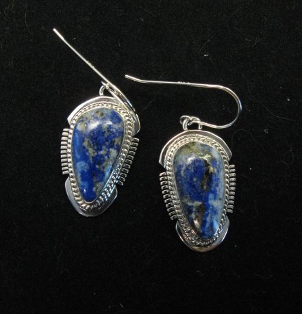 Image 5 of Native American Lapis Sterling Silver Necklace & Earrings Set - Navajo