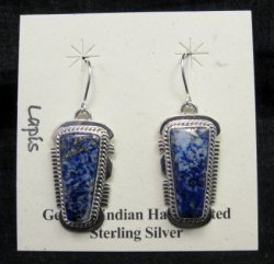Native American Lapis Sterling Silver Earrings - Navajo, Larson Lee
