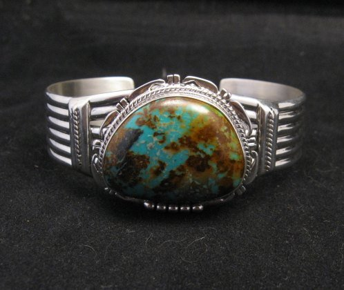 Image 7 of Navajo American Sierra Nevada Turquoise Silver Bracelet, John Nelson