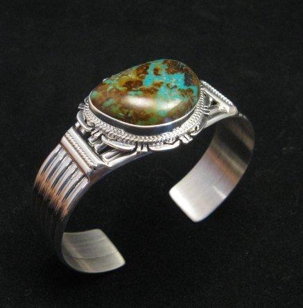 Image 2 of Navajo American Sierra Nevada Turquoise Silver Bracelet, John Nelson