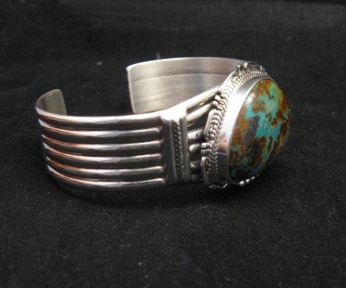 Image 3 of Navajo American Sierra Nevada Turquoise Silver Bracelet, John Nelson