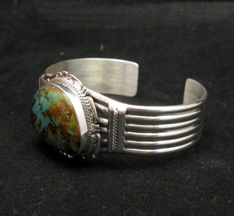 Image 4 of Navajo American Sierra Nevada Turquoise Silver Bracelet, John Nelson