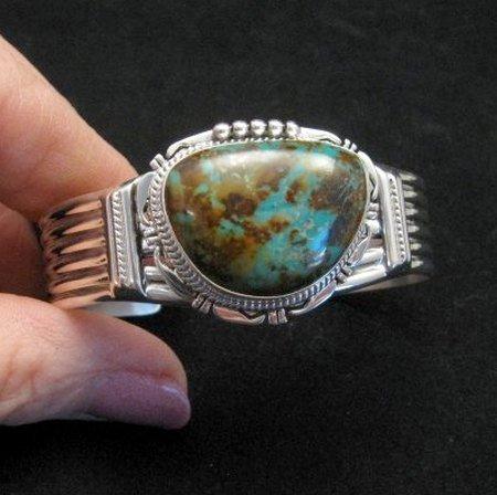 Image 0 of Navajo American Sierra Nevada Turquoise Silver Bracelet, John Nelson