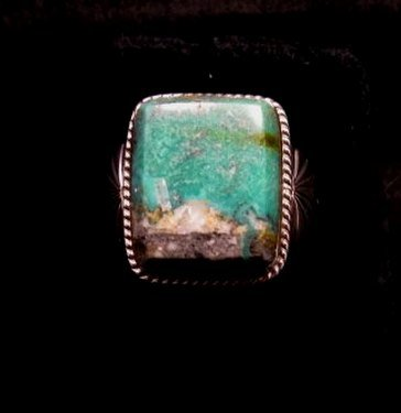 Image 0 of Navajo Native American Sunnyside Turquoise Silver Ring sz10