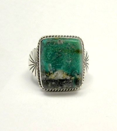 Image 1 of Navajo Native American Sunnyside Turquoise Silver Ring sz10