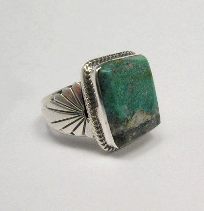 Image 2 of Navajo Native American Sunnyside Turquoise Silver Ring sz10