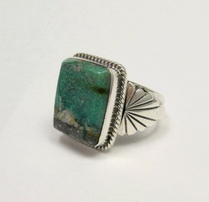 Image 3 of Navajo Native American Sunnyside Turquoise Silver Ring sz10