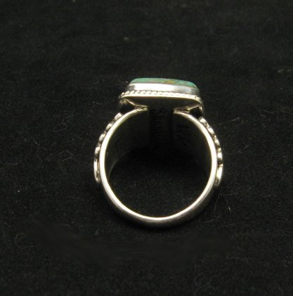 Image 4 of Navajo Native American Sunnyside Turquoise Silver Ring sz10