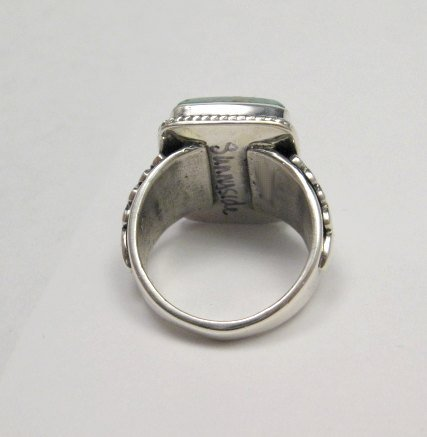 Image 5 of Navajo Native American Sunnyside Turquoise Silver Ring sz10