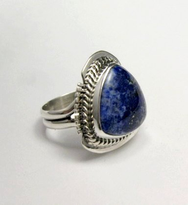 Image 2 of Navajo Native American Lapis Lazuli Ring sz6, Larson Lee