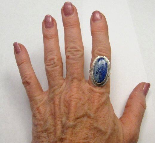Image 1 of Navajo Native American Denim Lapis Ring sz8, Kathy Yazzie