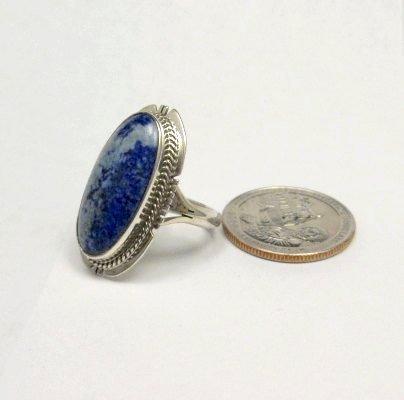Image 3 of Navajo Native American Denim Lapis Ring sz8, Kathy Yazzie
