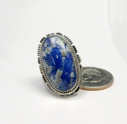 Image 1 of Navajo Native American Lapis Sterling Silver Ring sz8, Kathy Yazzie