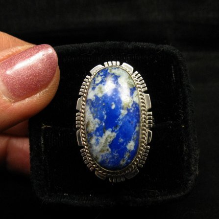 Image 0 of Navajo Native American Lapis Sterling Silver Ring sz8, Kathy Yazzie