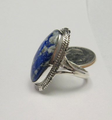 Image 2 of Navajo Native American Lapis Sterling Silver Ring sz8, Kathy Yazzie