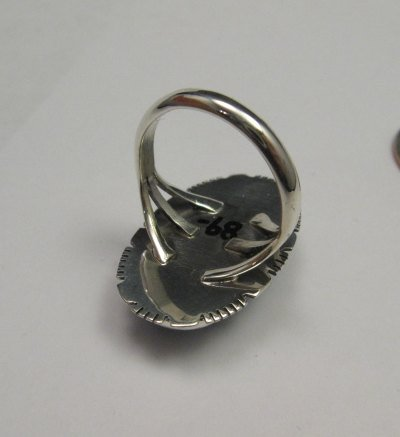 Image 3 of Navajo Native American Lapis Sterling Silver Ring sz8, Kathy Yazzie