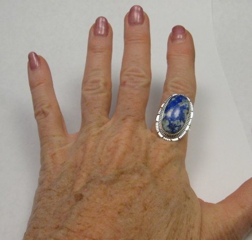 Image 4 of Navajo Native American Lapis Sterling Silver Ring sz8, Kathy Yazzie