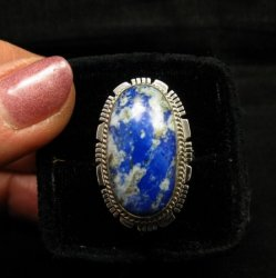 Navajo Native American Lapis Sterling Silver Ring sz8, Kathy Yazzie