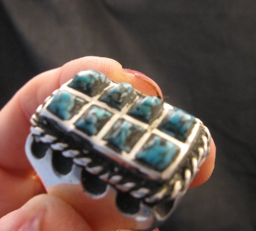 Image 4 of Vintage Turquoise Sterling Silver Ring sz10-1/2, Estate Sale