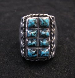 Vintage Turquoise Sterling Silver Ring sz10-1/2, Estate Sale