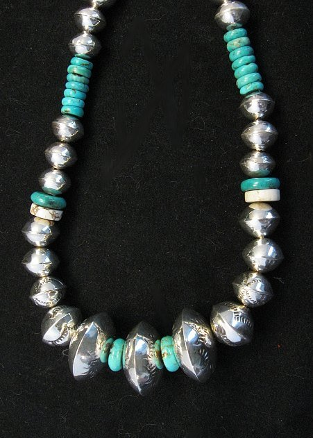 Image 1 of Navajo Stamped Silver Barrel Beads Turquoise Necklace, Lawrence Morgan