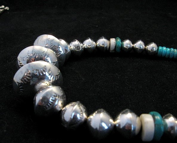 Image 5 of Navajo Stamped Silver Barrel Beads Turquoise Necklace, Lawrence Morgan