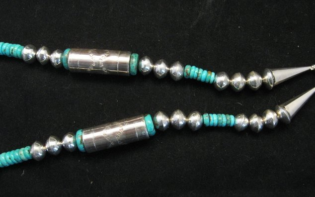 Image 2 of Navajo Stamped Silver Barrel Beads Turquoise Necklace, Lawrence Morgan