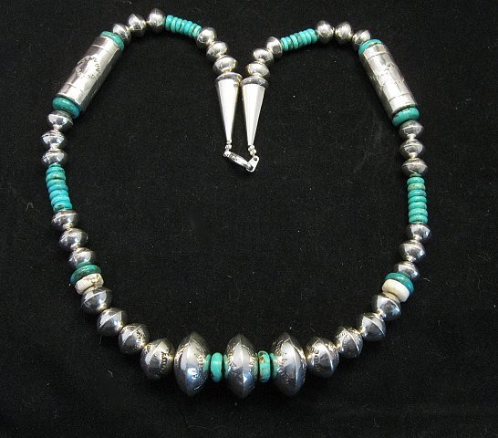 Image 6 of Navajo Stamped Silver Barrel Beads Turquoise Necklace, Lawrence Morgan