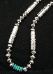 Navajo Stamped Silver Barrel Beads Turquoise Necklace, Lawrence Morgan