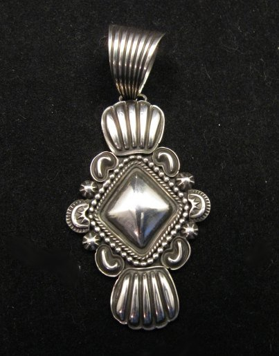 Image 0 of Navajo Native American Orville White Repousse Sterling Silver Pendant