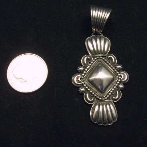 Image 3 of Navajo Native American Orville White Repousse Sterling Silver Pendant