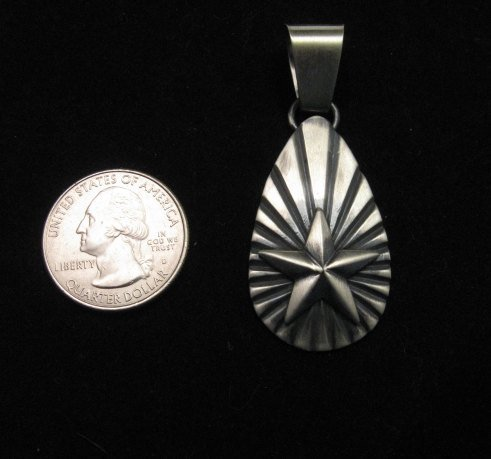 Image 1 of Old Pawn Style Navajo Sterling Silver Star Pendant, Derrick Gordon