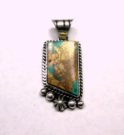 Image 0 of Navajo Native American Royston Ribbon Turquoise Silver Pendant, Linda Yazzie