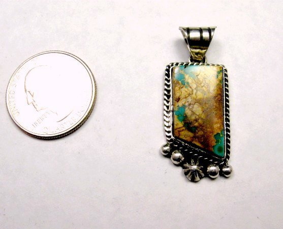 Image 1 of Navajo Native American Royston Ribbon Turquoise Silver Pendant, Linda Yazzie