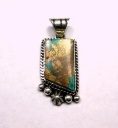 Navajo Native American Royston Ribbon Turquoise Silver Pendant, Linda Yazzie