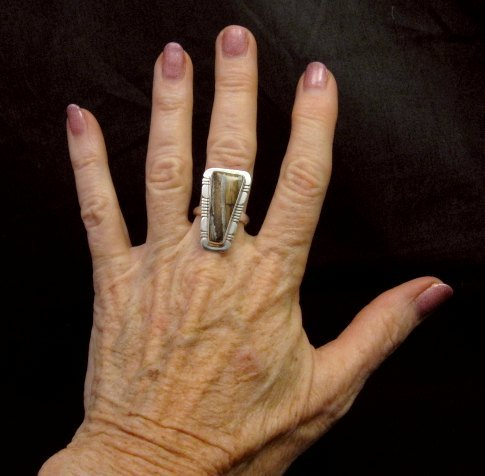 Image 2 of Navajo Native American Mammoth Tooth Silver Ring sz7-3/4, Phillip Sanchez