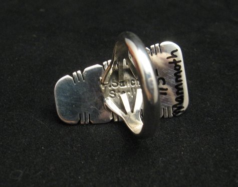 Image 3 of Navajo Native American Mammoth Tooth Silver Ring sz7-3/4, Phillip Sanchez