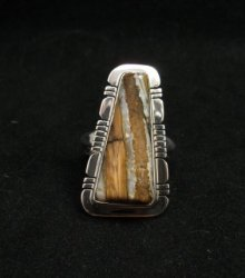 Navajo Native American Mammoth Tooth Silver Ring sz7-3/4, Phillip Sanchez