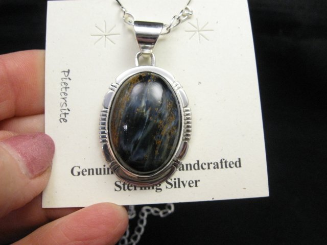 Image 0 of Native American Navajo Pietersite Silver Pendant, Phillip Sanchez