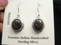 Native American Navajo Pietersite Silver Dangle Earrings, Thomas Valencia